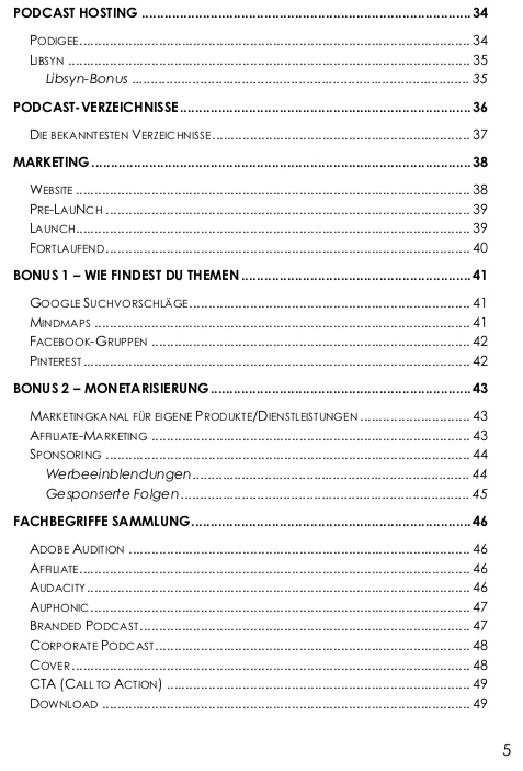 Podcast Workbook Inhaltsverzeichnis 2
