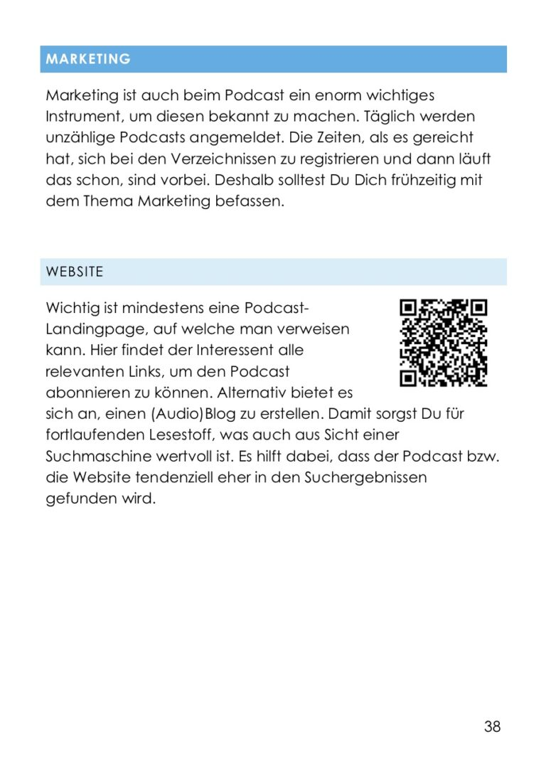 Wockbook Podcast erstellen - Blick ins Buch - Marketing Website